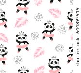 Stock vector cute panda ballerinas seamless pattern vector background for kids design 644892919