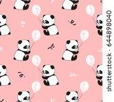 cute panda bears and balloons... | Shutterstock .eps vector #644898040