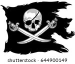 black pirate flag with a skull... | Shutterstock .eps vector #644900149