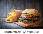 fresh tasty burger and french... | Shutterstock . vector #644901010