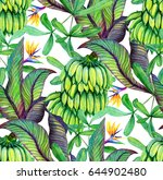 tropical seamless pattern with... | Shutterstock . vector #644902480