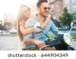 couple in love riding a... | Shutterstock . vector #644904349