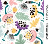 seamless hand drawn floral... | Shutterstock .eps vector #644906923