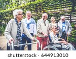 group of senior people with... | Shutterstock . vector #644913010