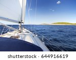sailing with sailboat in... | Shutterstock . vector #644916619