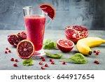 detox fresh juice or smoothie... | Shutterstock . vector #644917654