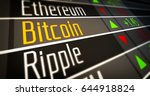 Stock photo financial markets and virtual currency values crypto currency market as d illustration concept 644918824