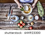 cooking food. the woman the... | Shutterstock . vector #644923300