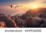 Flying Airplane. Landscape Wit...