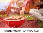 dinner party  barbecue and... | Shutterstock . vector #644927560