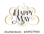 happy may. handwritten modern... | Shutterstock .eps vector #644927944