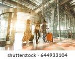 three asian traveler friends... | Shutterstock . vector #644933104