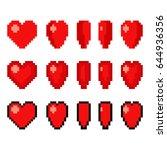pixel art heart animation set.... | Shutterstock .eps vector #644936356