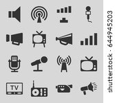 broadcast icons set. set of 16... | Shutterstock .eps vector #644945203
