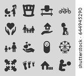 family icons set. set of 16... | Shutterstock .eps vector #644945290