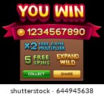 you win screen for game. vector ... | Shutterstock .eps vector #644945638
