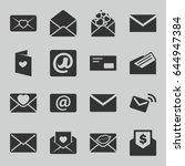 email icons set. set of 16... | Shutterstock .eps vector #644947384