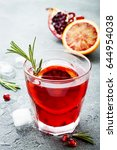 red cocktail with blood orange... | Shutterstock . vector #644954038