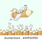 sketch of working little people ... | Shutterstock .eps vector #644956900