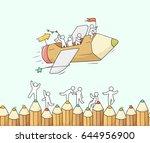 sketch of working little people ... | Shutterstock .eps vector #644956900