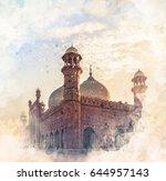 Badshahi Mosque Watercolor Sketch
