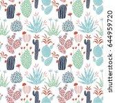 vector floral seamless pattern... | Shutterstock .eps vector #644959720