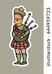 bagpiper in kilt. | Shutterstock .eps vector #644959723