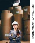 paper mill factory worker | Shutterstock . vector #644963833