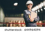 paper mill factory worker | Shutterstock . vector #644964094