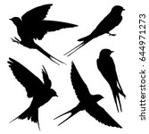 swallow silhouette set. vector... | Shutterstock .eps vector #644971273