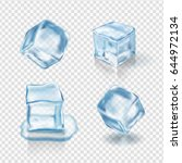 transparent ice cubes in light... | Shutterstock .eps vector #644972134