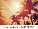 tropical sunset | Shutterstock . vector #644978338