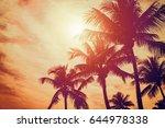 tropical sunset | Shutterstock . vector #644978338