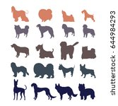 dog silhouettes isolated on... | Shutterstock .eps vector #644984293