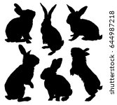 Rabbit Silhouette Set. Vector...