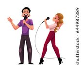 man and woman  couple singing... | Shutterstock .eps vector #644987389