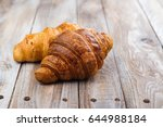 freshly baked croissants on... | Shutterstock . vector #644988184