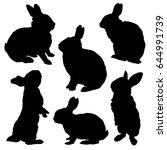 rabbit silhouette set. vector... | Shutterstock .eps vector #644991739