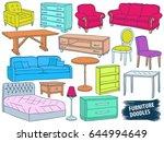 furniture doodles set. interior ... | Shutterstock .eps vector #644994649