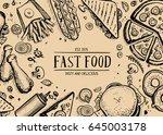 fast food retro advertising... | Shutterstock .eps vector #645003178