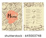hand drawn restaurant menu... | Shutterstock .eps vector #645003748