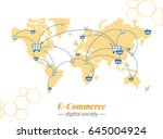 world currency and financial... | Shutterstock .eps vector #645004924