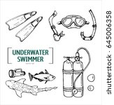 hand drawn contour diving set... | Shutterstock .eps vector #645006358