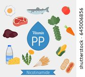 vitamin pp or nicotinamide and... | Shutterstock .eps vector #645006856