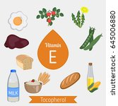 vitamin e or tocopherol and... | Shutterstock .eps vector #645006880