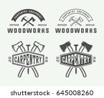 set of vintage carpentry ... | Shutterstock .eps vector #645008260