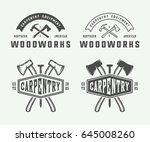 set of vintage carpentry ... | Shutterstock .eps vector #645008260