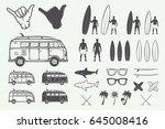 set of vintage summer surfing... | Shutterstock .eps vector #645008416