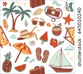 summer beach cute doodle hand... | Shutterstock .eps vector #645010240