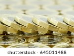 a fallen stack of new one pound ... | Shutterstock . vector #645011488